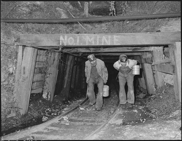 Blaine_Sergent,_left,_comes_out_of_the_mine_at_the_end_of_the_day's_work._P_V_&_K_Coal_Company,_Clover_Gap_Mine..._-_NARA_-_541293.jpg